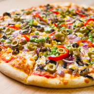 Cheese Green Peppers, Mushrooms, Hot Peppers, Onions & Black Olives